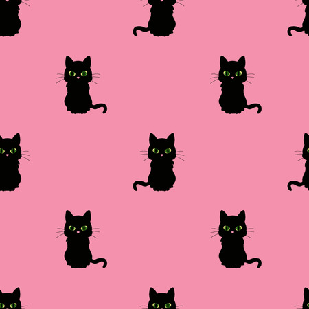 Black cat with green eyes on pattern