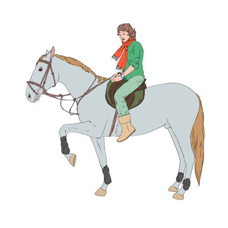 Drawing of horse and girl