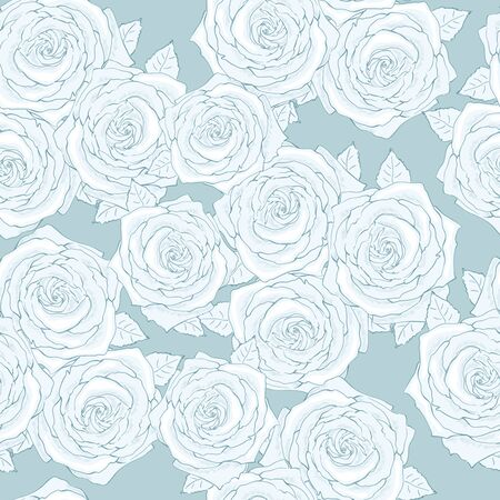 Blue roses for pattern on textile Illustration