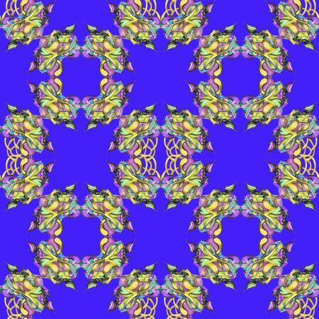 Deep blue pattern with floral elements