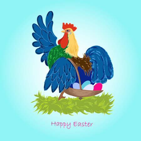 Rooster carrying a basket full of Easter eggs
