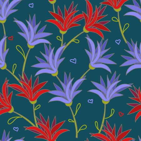 Deep seamless with red and blue flowers Illustration