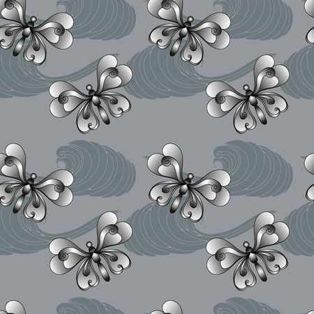 Gray seamless with  butterfly for textile
