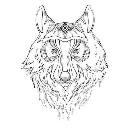 Drawing of wolf for tattoo