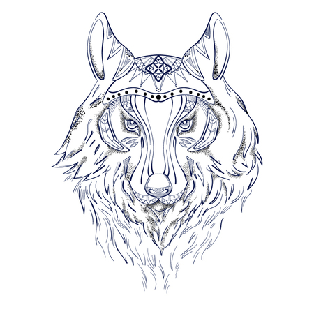 Wolf in color for tattoo
