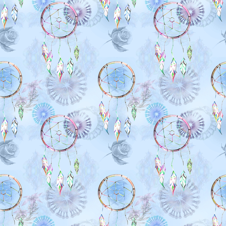 Blue pattern on boho style Stock Photo