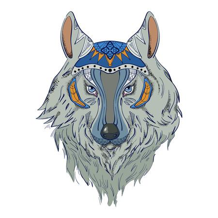 Gray wolf for tattoo Illustration
