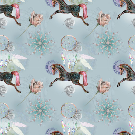 Bright pattern with horse for boho textile