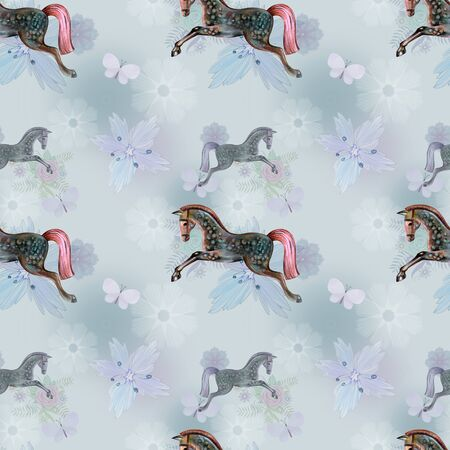 Soft pattern with horse for textile Stock Photo