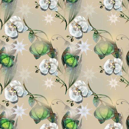 Watercolor flowers on floral pattern