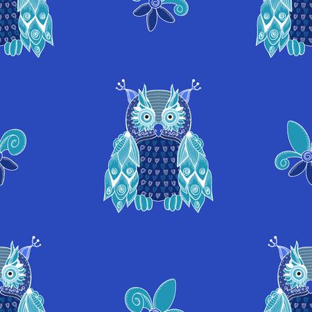 Blue owls in night sky