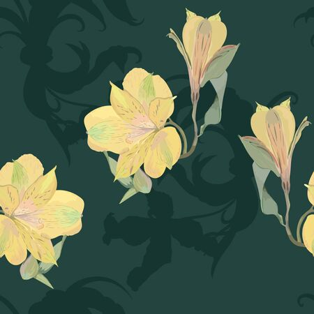 Yellow flowers on deep background, seamless for textile