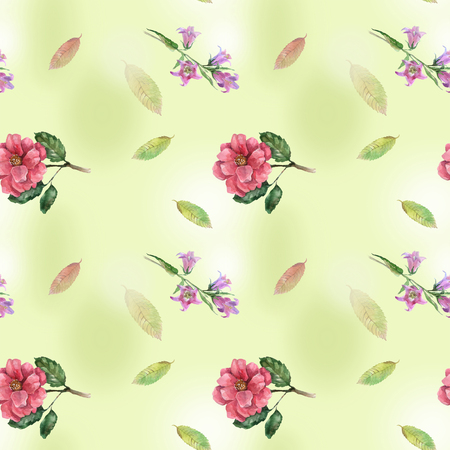 Seamless with roses and bell for textile