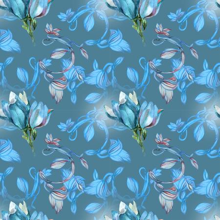 Blue magnolia on summer pattern