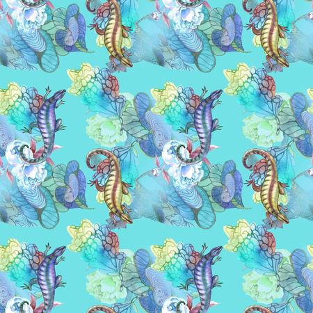 Blue and yellow iguana on seamless Stock Photo