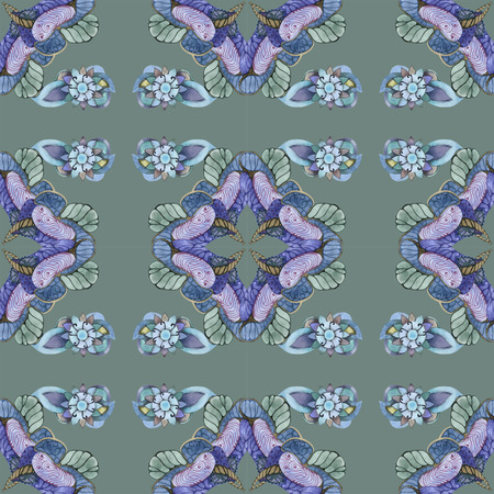 Green and blue asian pattern for paper and textile