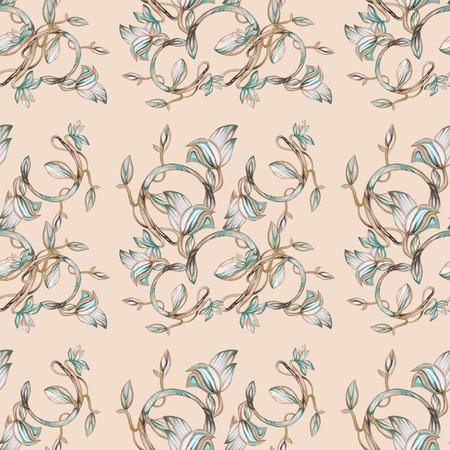 Soft floral pattern in folk style