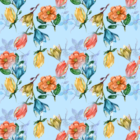 Magnolia and roses on blue pattern