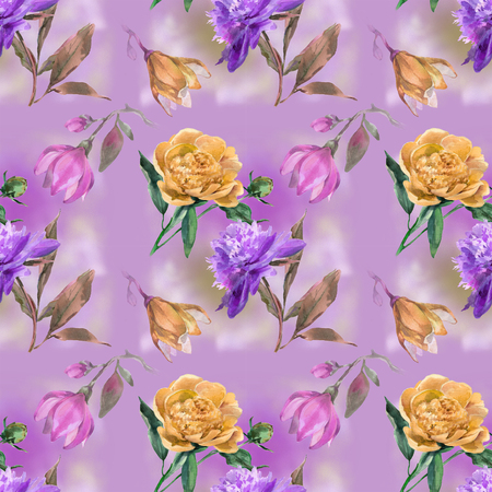 Lilac pattern with peony and magnolia
