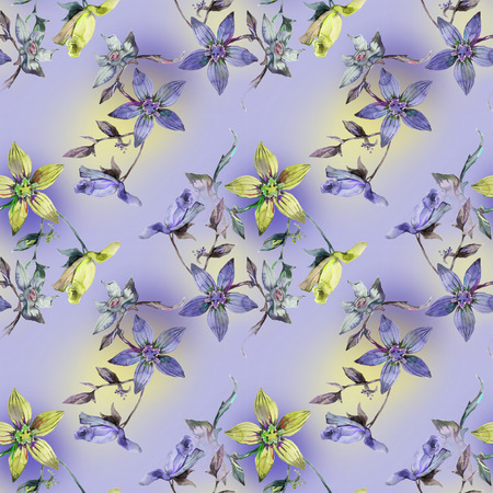 Watercolor flowers  on textile pattern Stock Photo