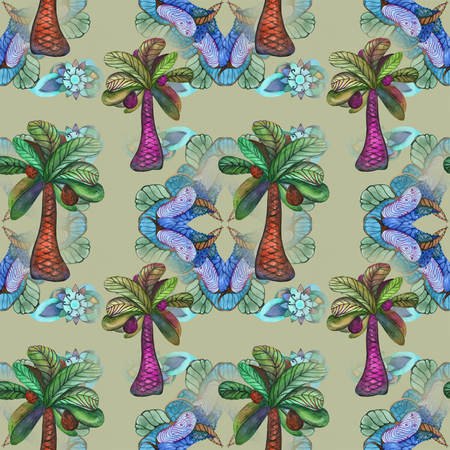 Watercolor jungle on east pattern