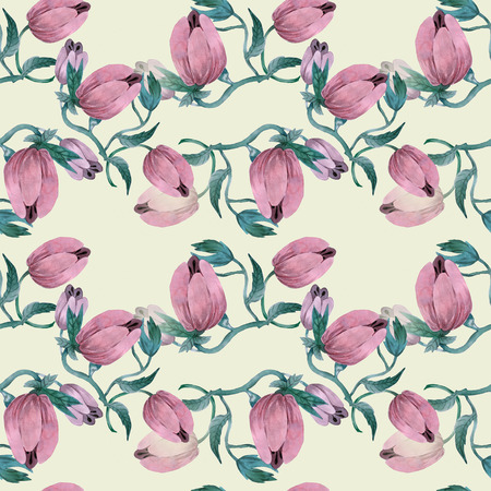 Watercolor tulip on yellow background, pattern for textile