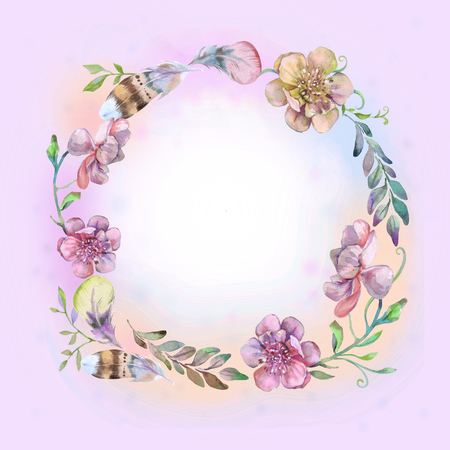 Pink frame for card and for decor Stock Photo