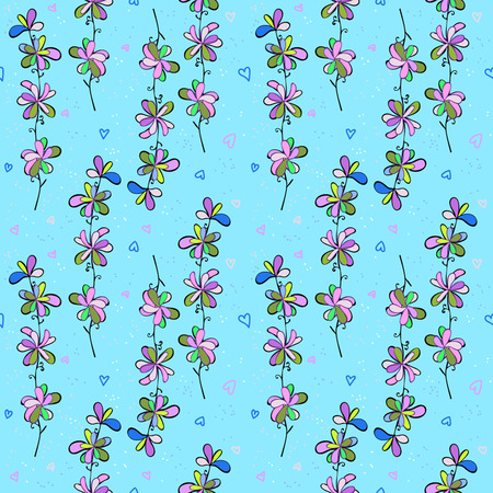 Blue bright pattern for fabric