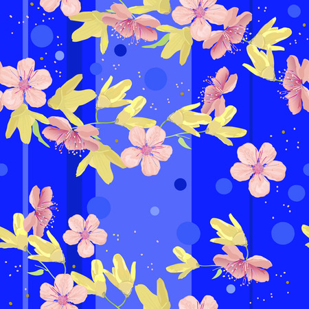 Bright blue background, pink and yellow flowers