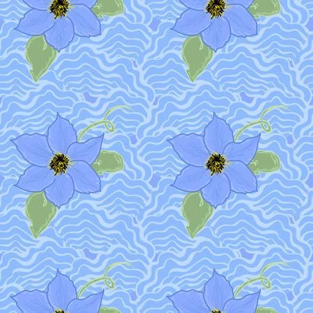 Abstract  background with blue flowers Illustration