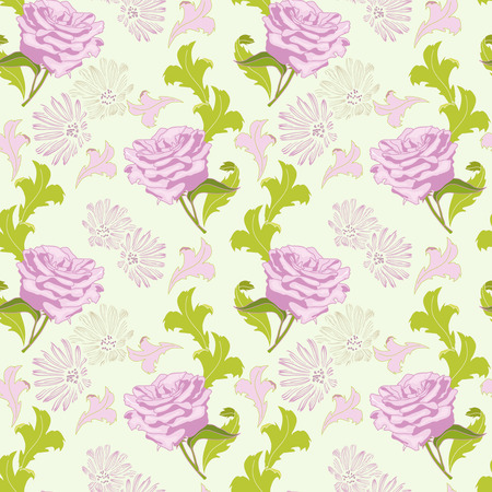 Light summer pattern with roses and other flowers Illustration