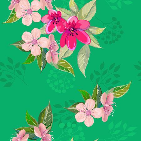Bright spring flowers on seamless Illustration