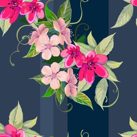 Bloom of flowers on seamless Illustration