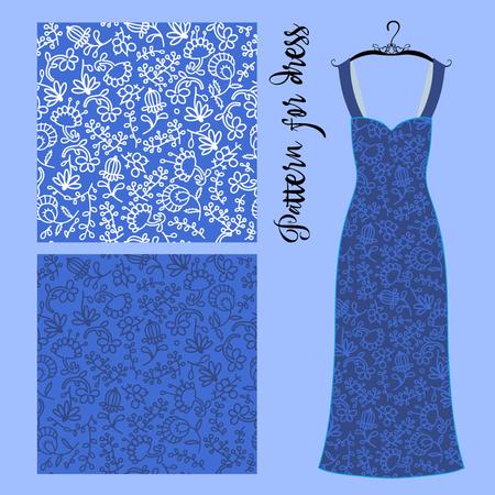 Seamless pattern for summer dress illustration.