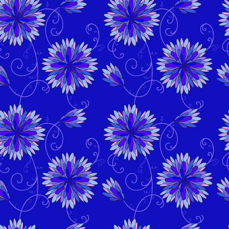 Blue flowers on blue background Vector illustration.