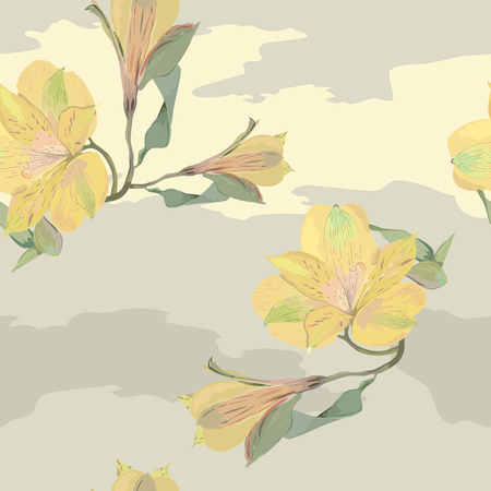 Yellow flowers on gray background Ilustrace