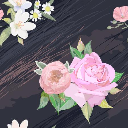 Pink rose, jasmine,chamomile on pattern for textile Illustration