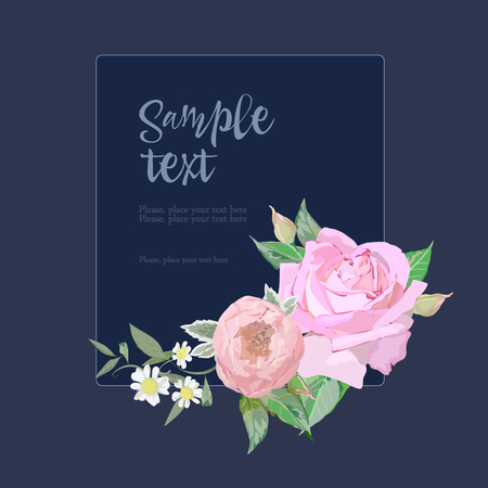 Roses on card for wedding Illustration