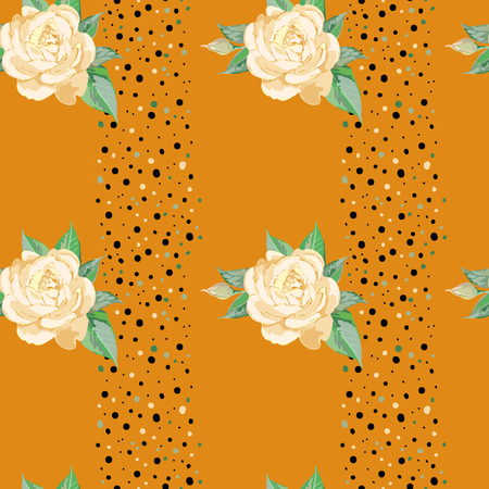 Yellow roses on orange background, pattern for summer
