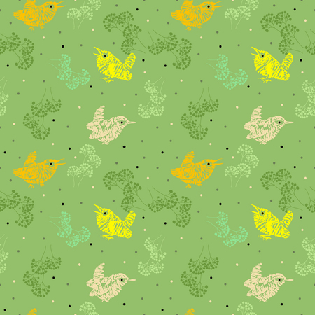 Summer pattern for kids with birds