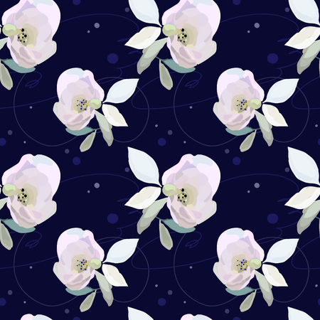 Deep background and pink flowers on seamless