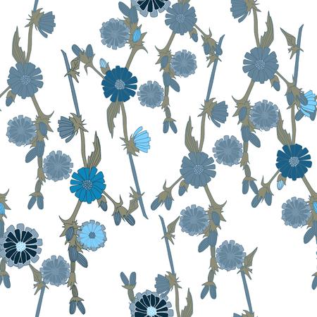 Blue field flowers for pattern
