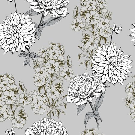 Monochrome garden flowers on pattern Ilustrace