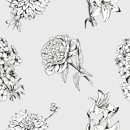 Monochrome soft pattern with summer flowers