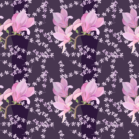 Pattern with magnolia for design of textile and other fabric