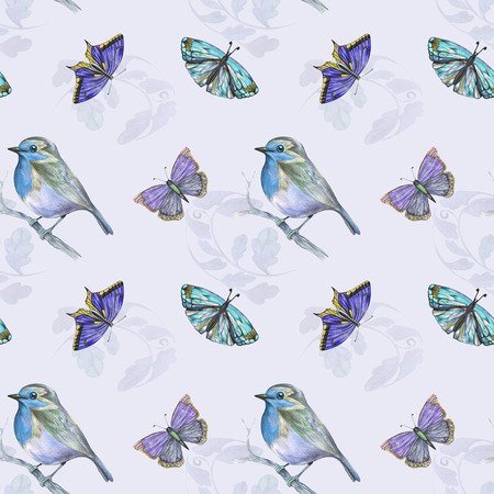 Blue pattern with bird, textile and fabric
