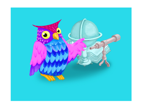 Card for kids, owl and book, globe