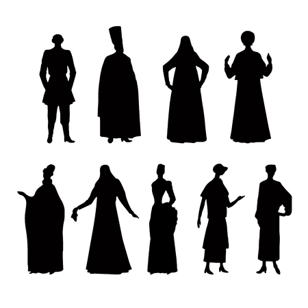 Costume story, silhouette on white background