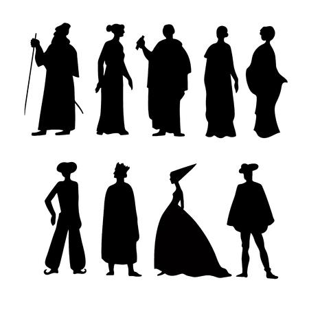 Siluetas de historia de vestuario, iconos Ilustración de vector