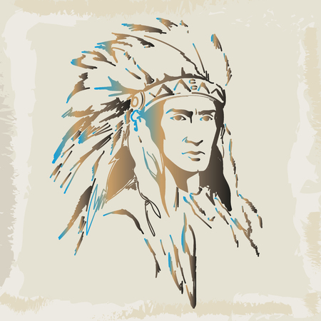 Indian, drawing by vector